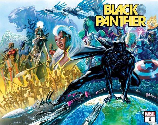 Cover to BLACK PANTHER (2021) #1 by artist Alex Ross.
