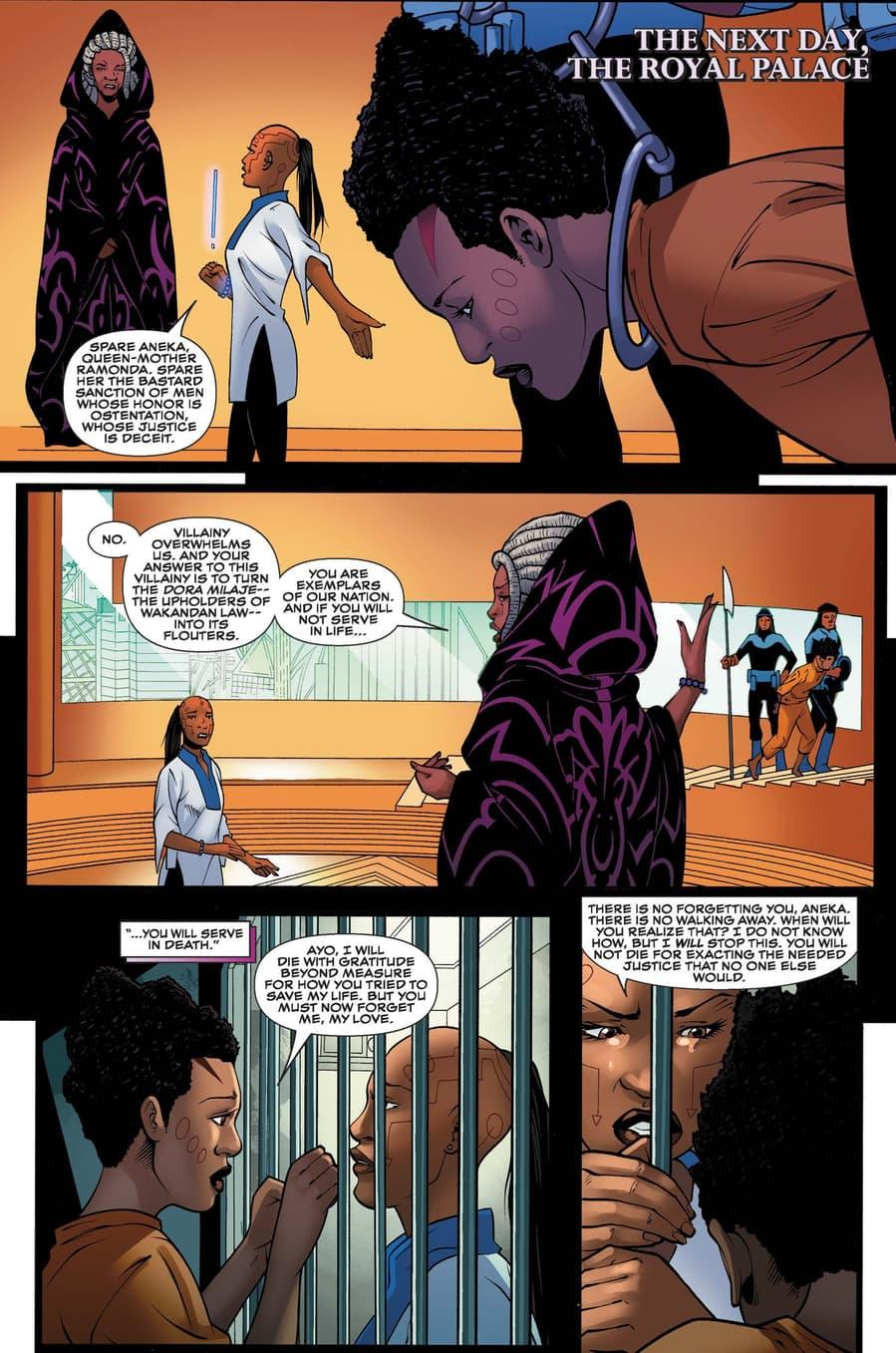 Ayo defends Aneka as recalled in BLACK PANTHER: WORLD OF WAKANDA (2016) #5.