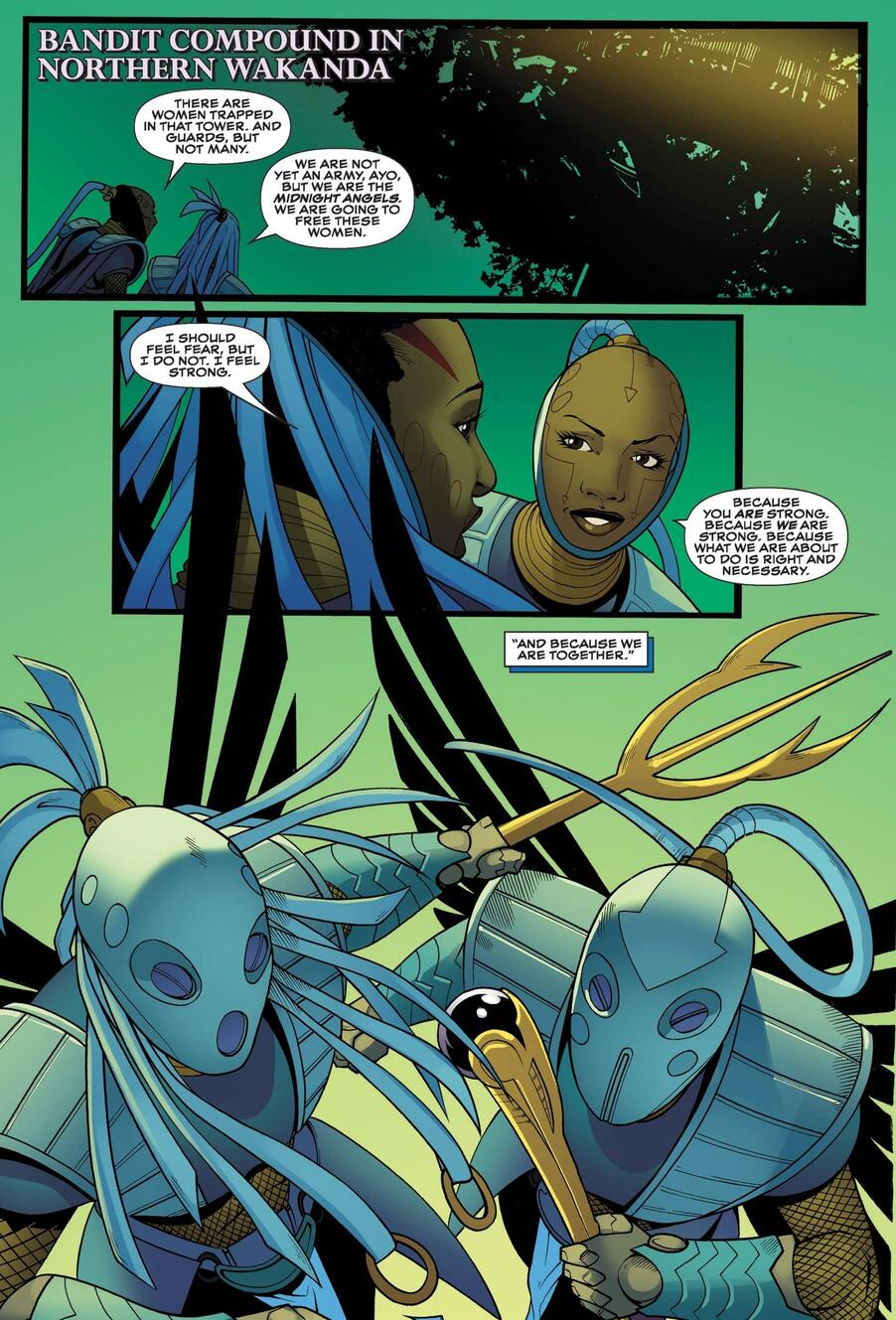 The origin of the Midnight Angels in BLACK PANTHER: WORLD OF WAKANDA (2016) #5.