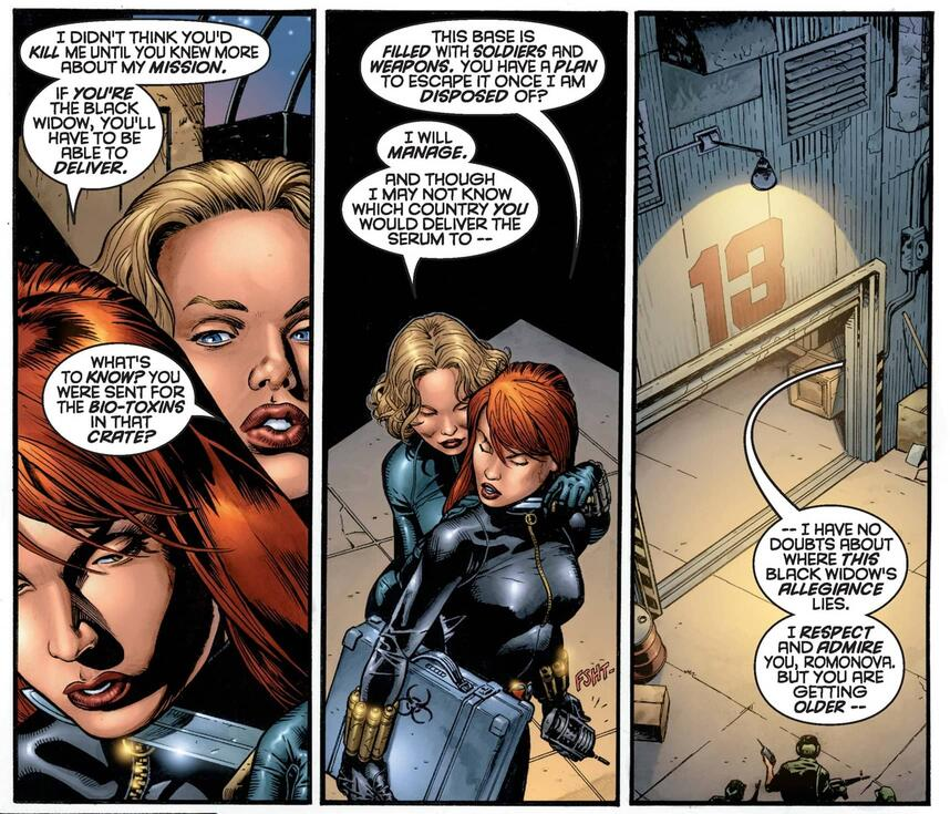 The two Black Widows confront each other.