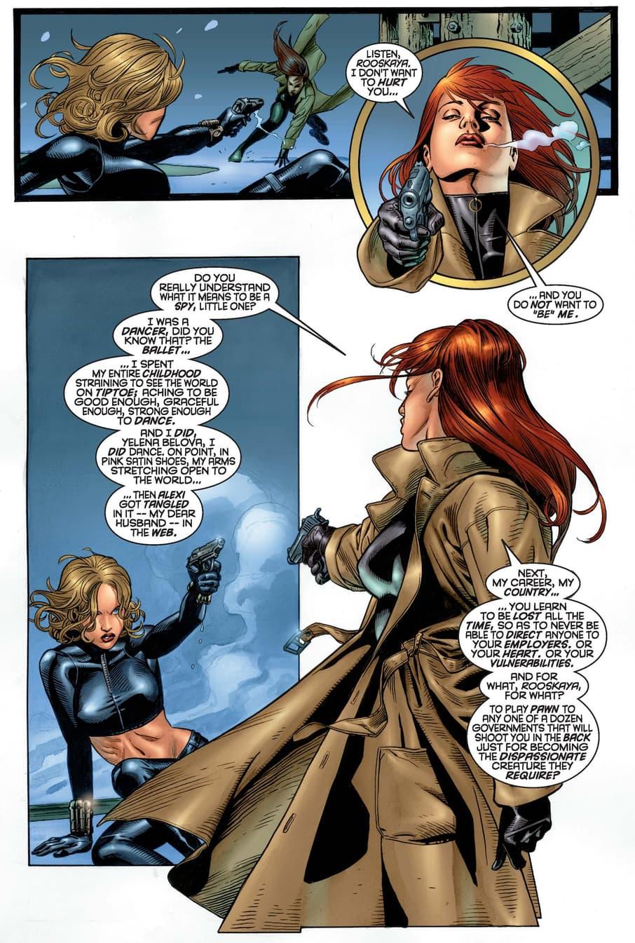 Natasha confronts Yelena Belova in BLACK WIDOW (1999) #2.
