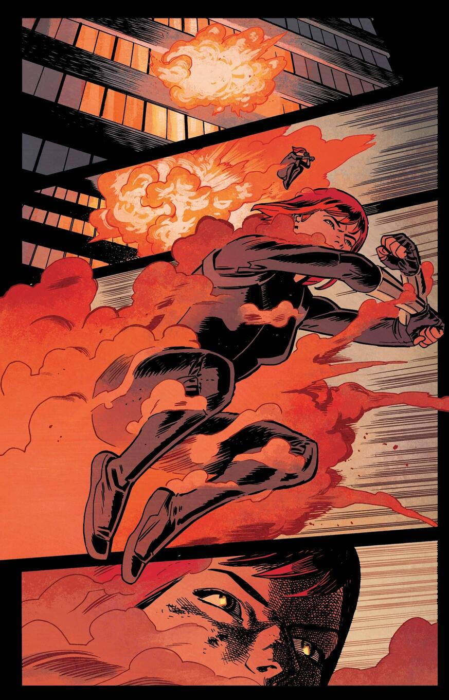 Black Widow escapes an explosion in BLACK WIDOW (2016) #1.