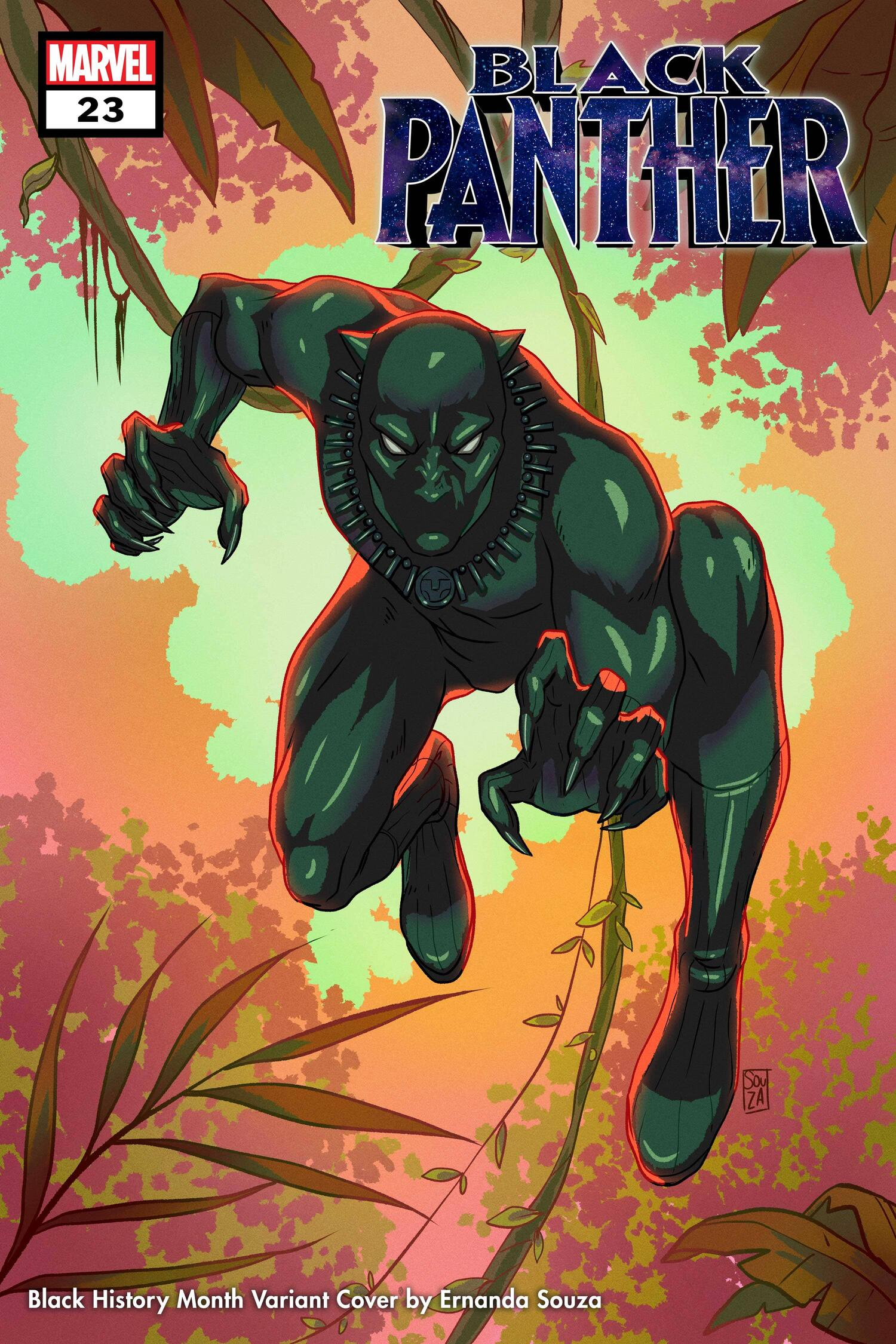 BLACK PANTHER #23 Black History Month Variant Cover by Ernanda Souza