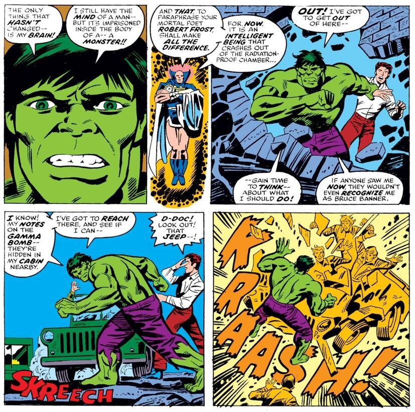Bruce Banner merges with the Hulk in WHAT IF (1977) #2.