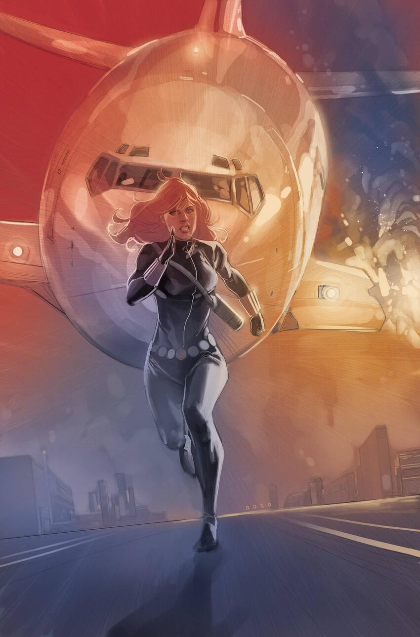Black Widow outruns a plan on the cover to BLACK WIDOW (2014) #5.