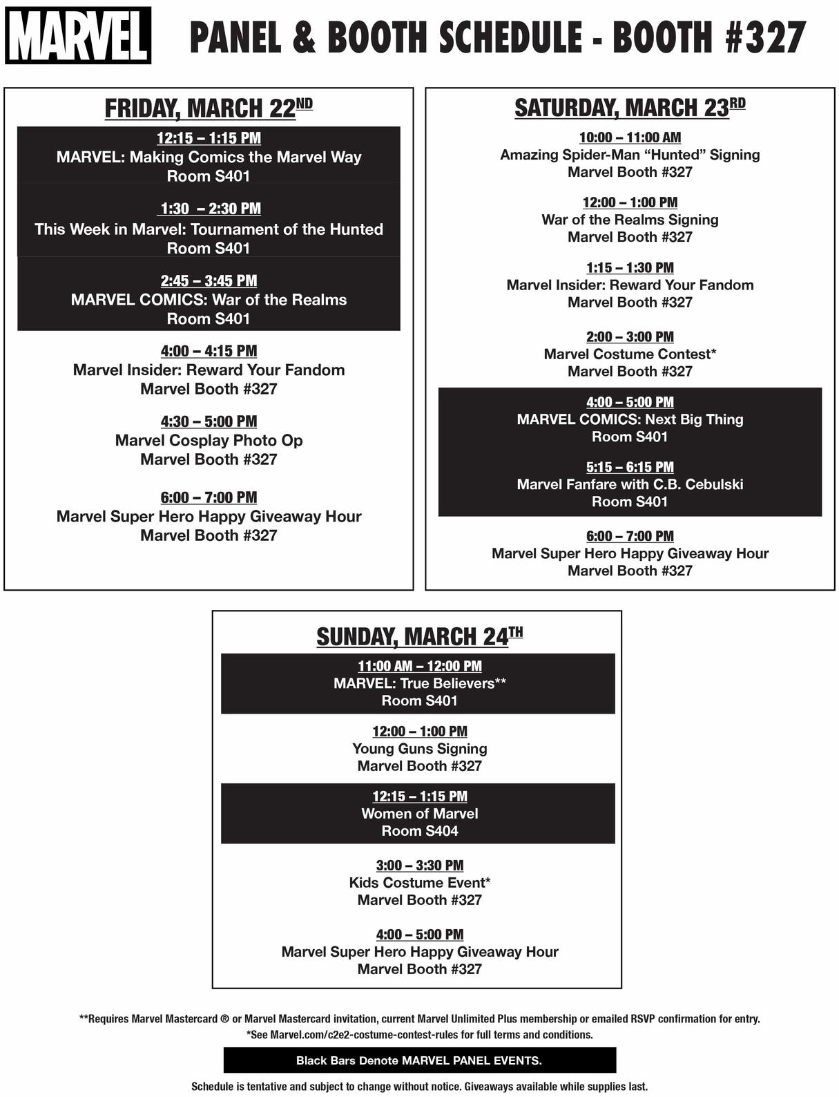 Marvel C2E2 Booth and Panel Schedule