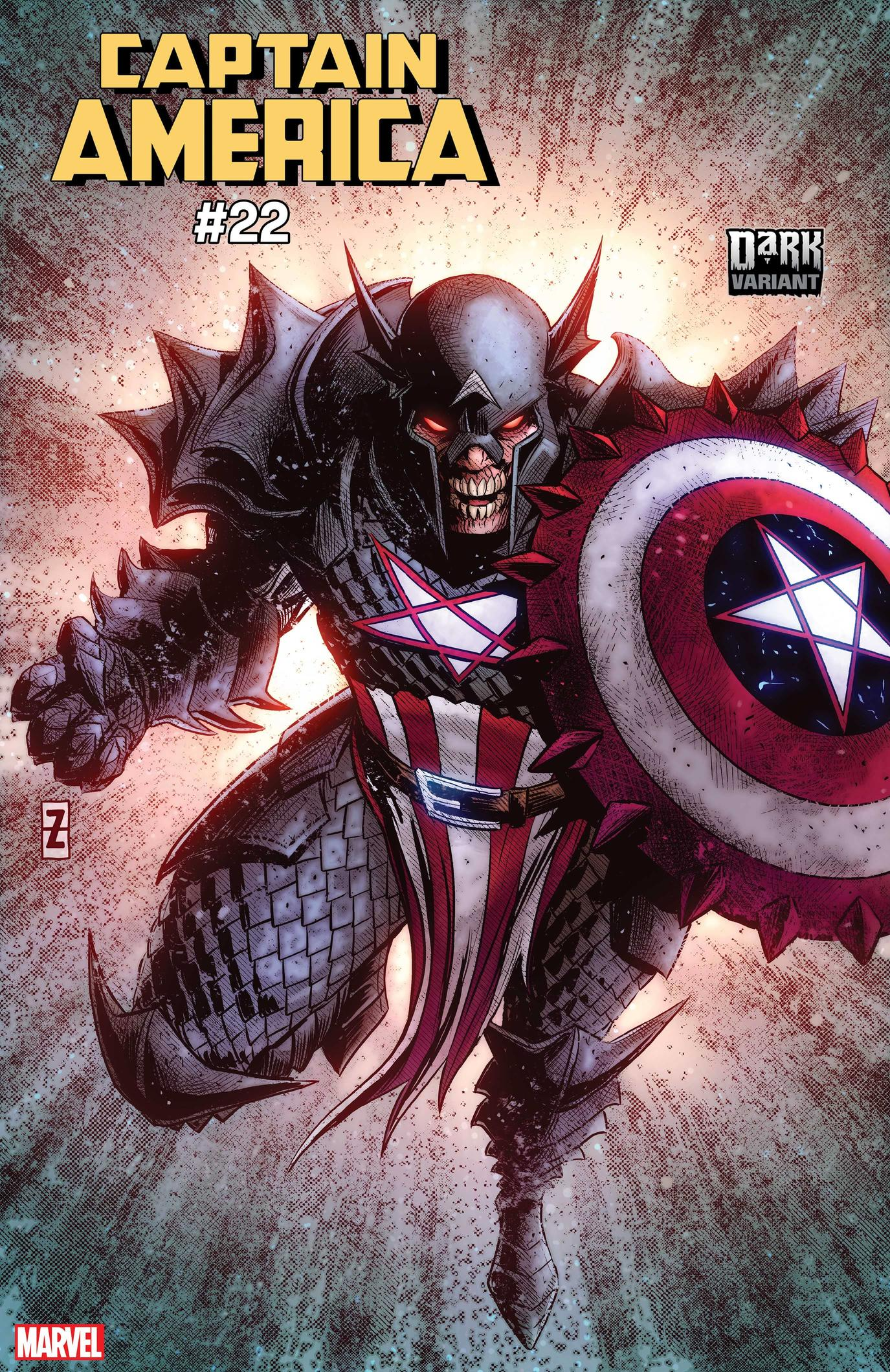 CAPTAIN AMERICA #22 DARK MARVEL VARIANT by PATCH ZIRCHER with colors by MORRY HOLLOWELL