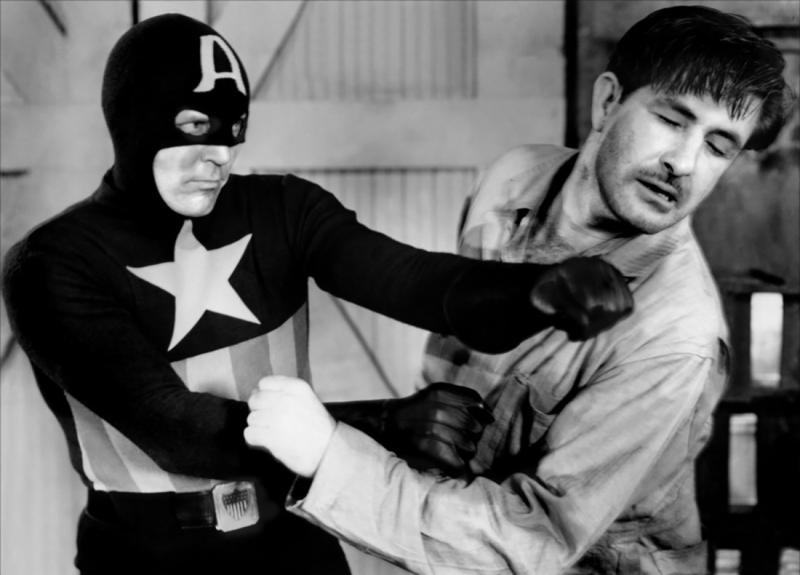 "Photo from 1944's ""Captain America"" movie serial"