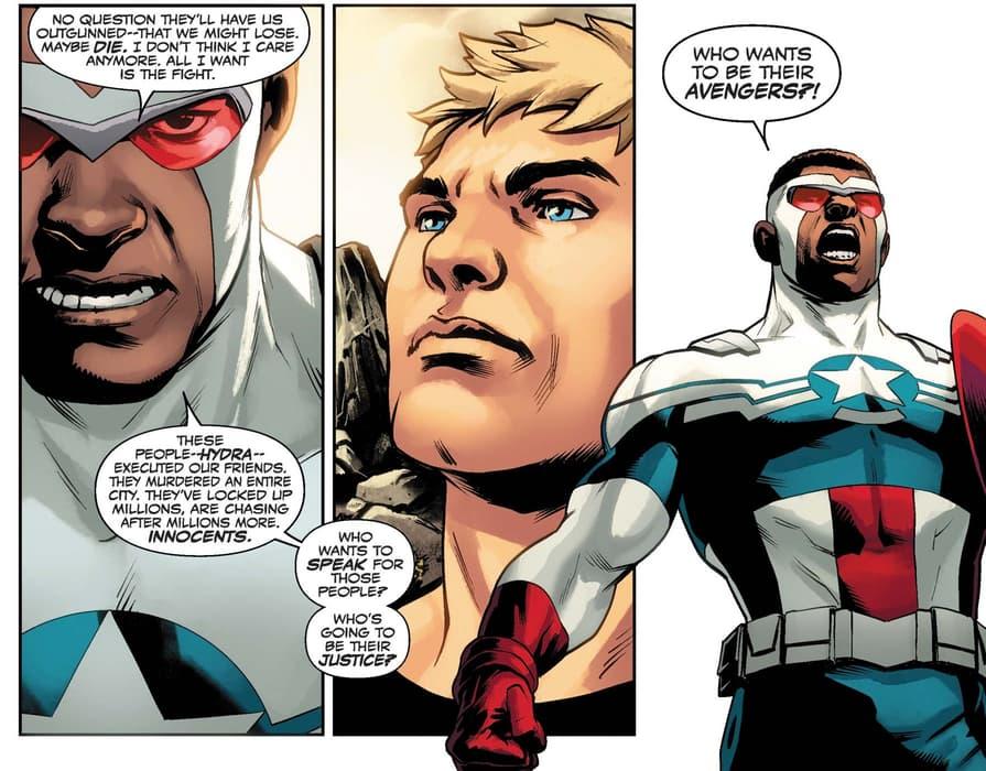 Sam rallies the Avengers in CAPTAIN AMERICA (2018) #25.