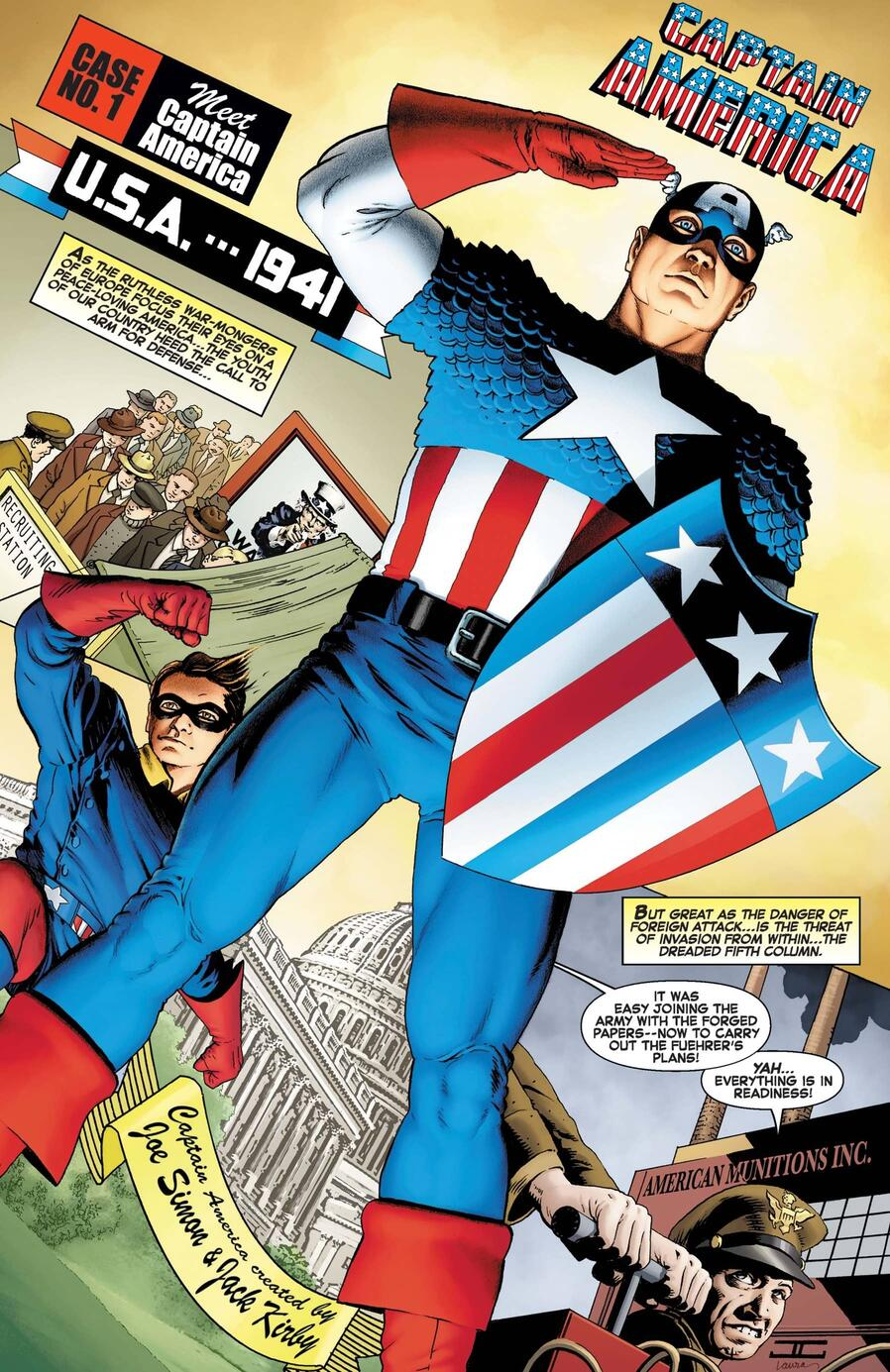 An homage to Cap and Bucky's first appearances in CAPTAIN AMERICA ANNIVERSARY TRIBUTE (2021) #1.
