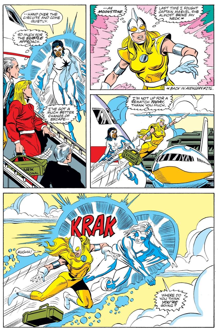 Monica Rambeau in her Captain Marvel form versus Moonstone.