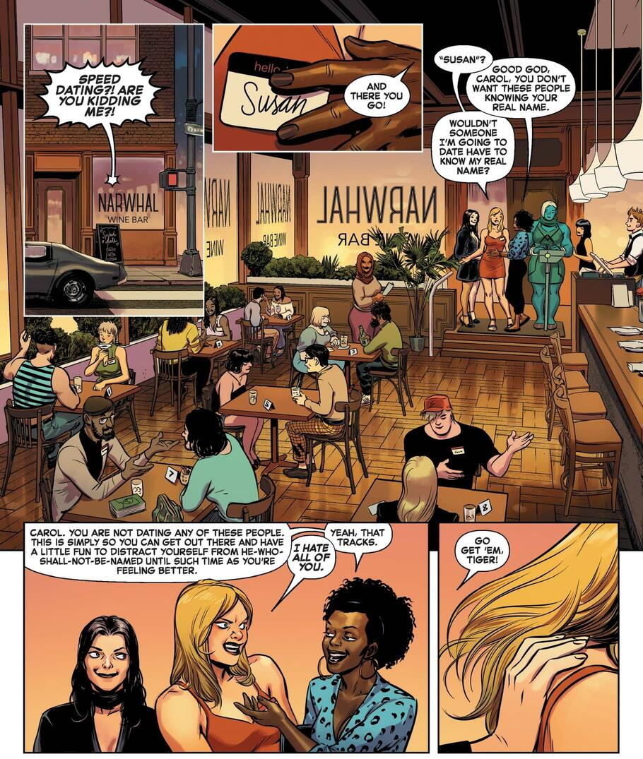 Carol Danvers begrudgingly enters a round of speed dating after pressure from her friends.