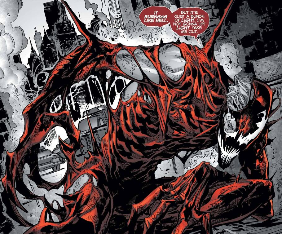 Carnage feels the burn in CARNAGE: BLACK, WHITE & BLOOD (2021) #1.
