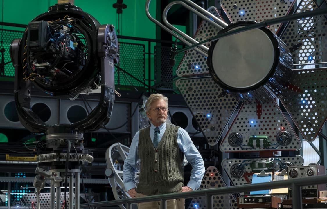 Michael Douglas (Hank Pym) on set BTS.