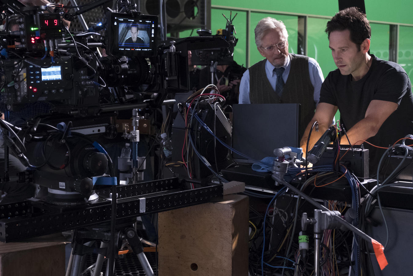 Hank Pym (Michael Douglas) and Ant-Man/Scott Lang (Paul Rudd) BTS on set.