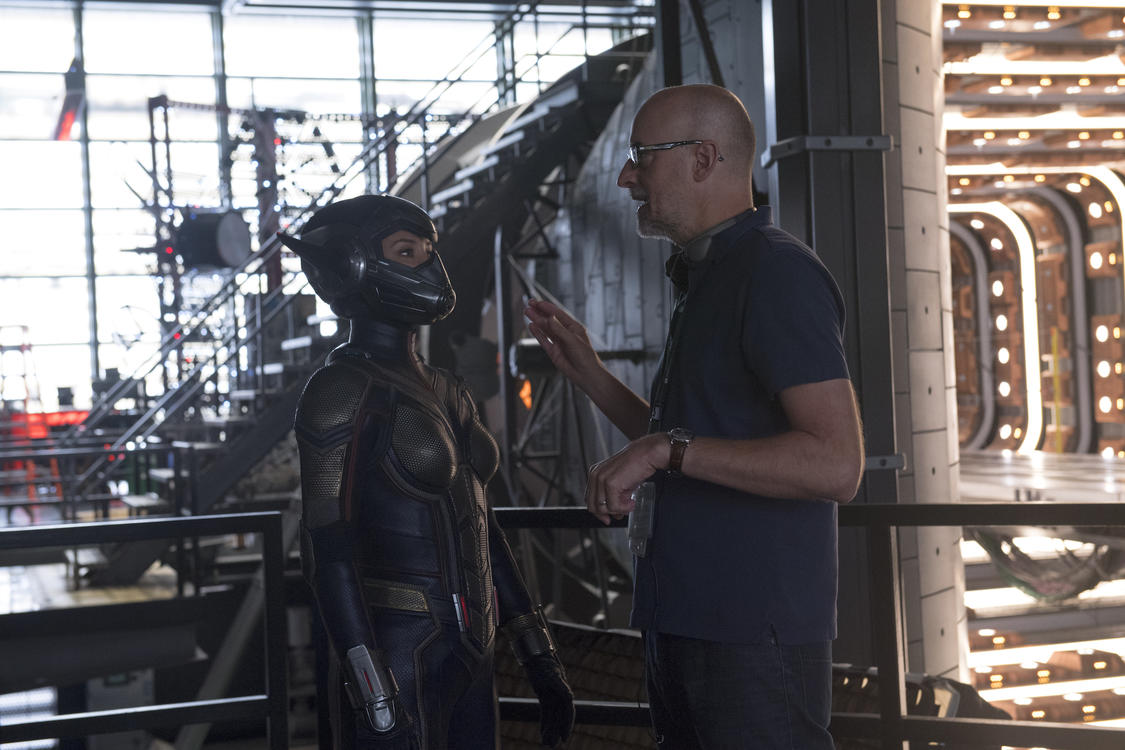 The Wasp/Hope van Dyne (Evangeline Lilly) and Director Peyton Reed on set BTS.