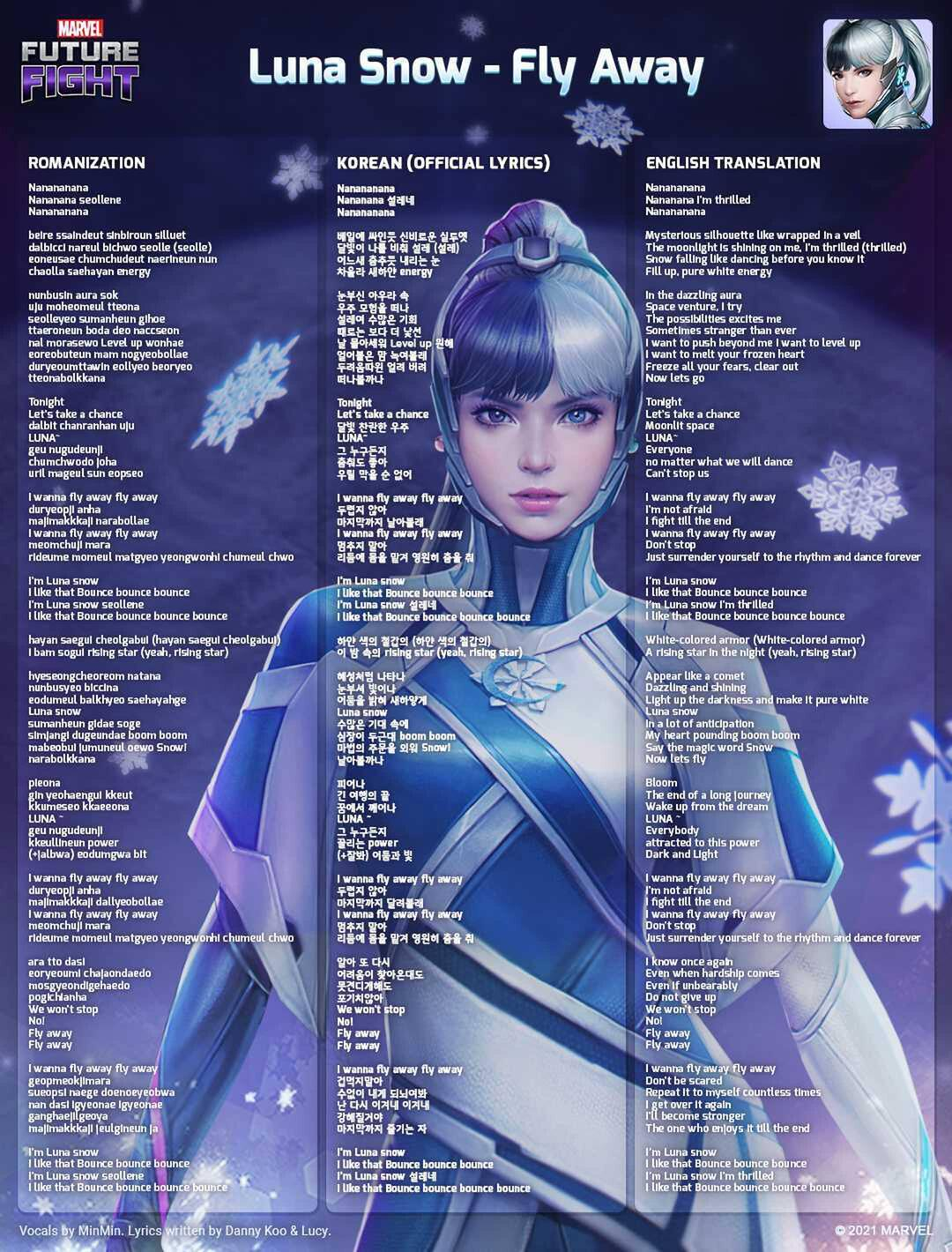 """MARVEL Future Fight Luna Snow """"Fly Away"""" Songsheet Lyrics Korean and English Vocals by MinMin Written by Danny Koo & Lucy"""