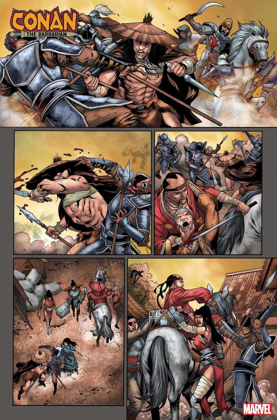 CONAN THE BARBARIAN #20 pencils by Cory Smith, inks by Roberto Poggi, and colors by Israel Silva