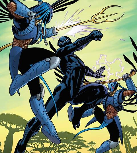 Cover to BLACK PANTHER (2016) #3: Ayo and Aneka versus Black Panther in the Midnight Angel's prototype armor.