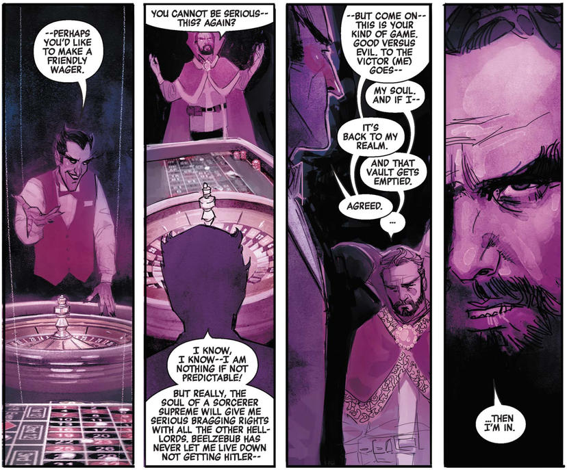 Doctor Strange makes a bet with Mephisto