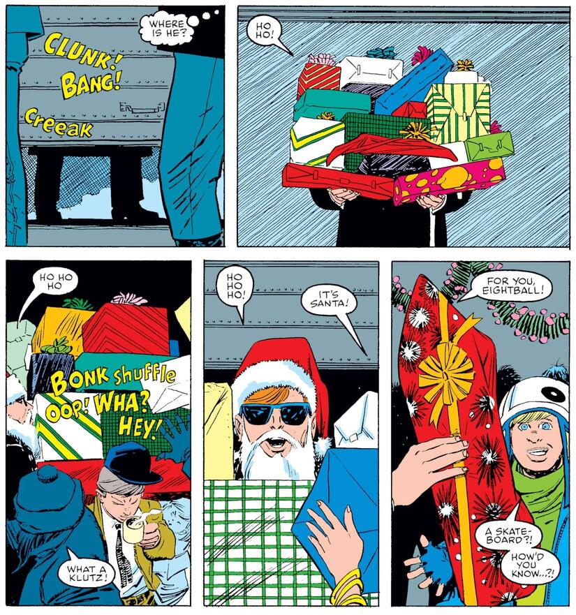 Matt Murdock, dressed as Santa, delivers Christmas cheer and gifts.