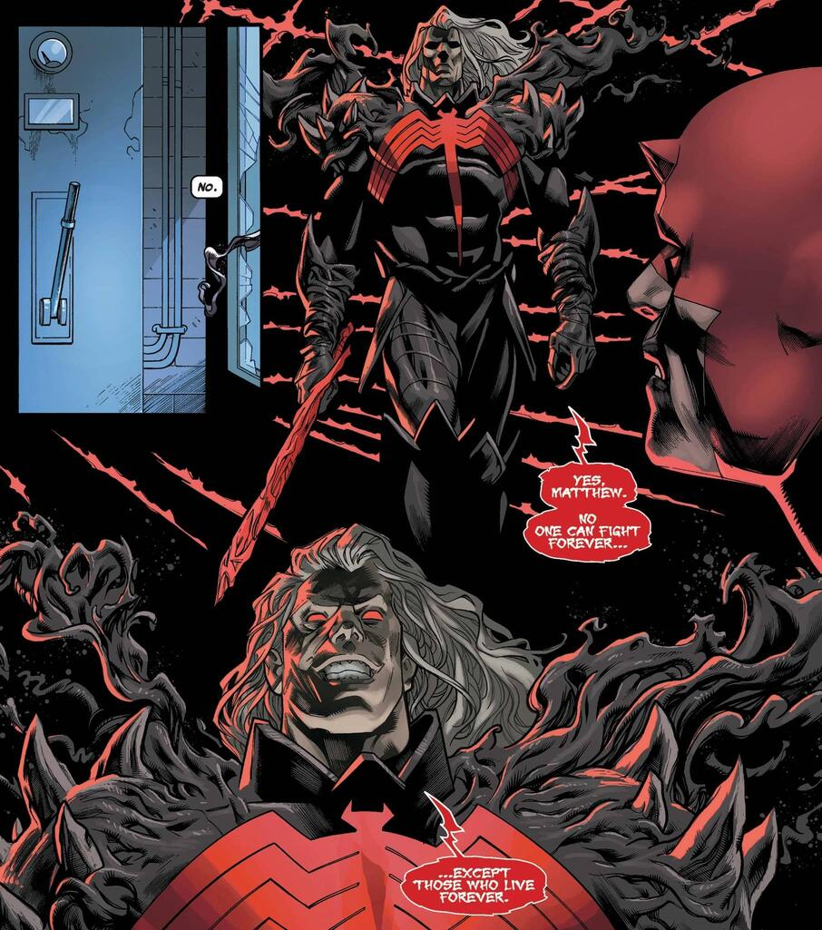 Knull tempts Daredevil with symbiotic power.