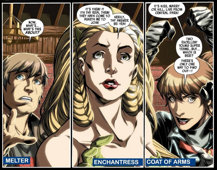 """Sylvie Lushton speaks like an """"Asgardian"""" in DARK REIGN: YOUNG AVENGERS (2009) #2."""