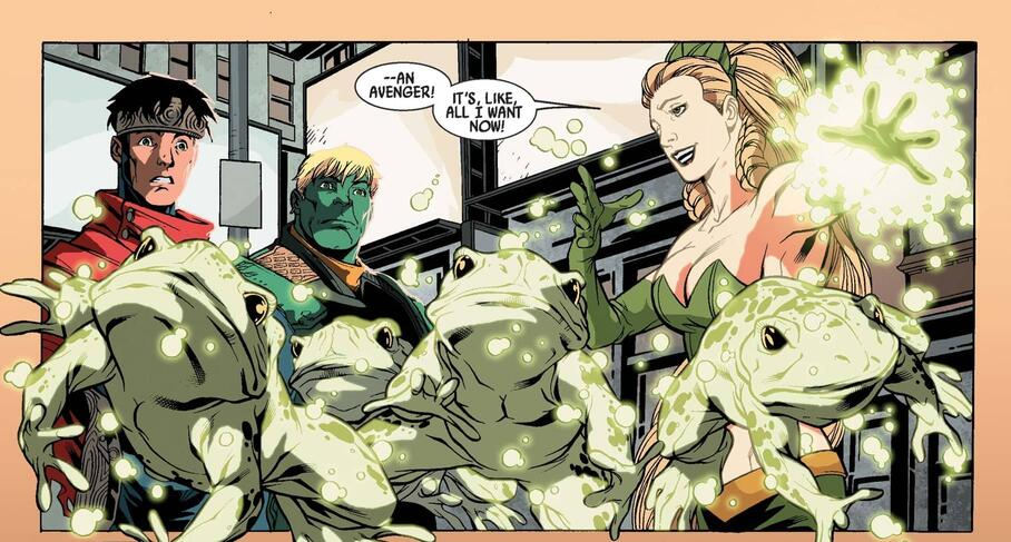 Sophie transforms Hydra goons into frogs in DARK REIGN: YOUNG AVENGERS (2009) #3.