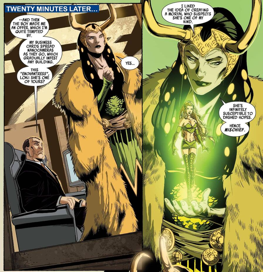 Loki reveals Sylvie's true nature as the god's manifestation in DARK REIGN: YOUNG AVENGERS (2009) #4.