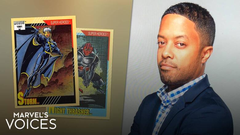 David Betancourt with 1991 Impel Marvel Universe Trading Cards