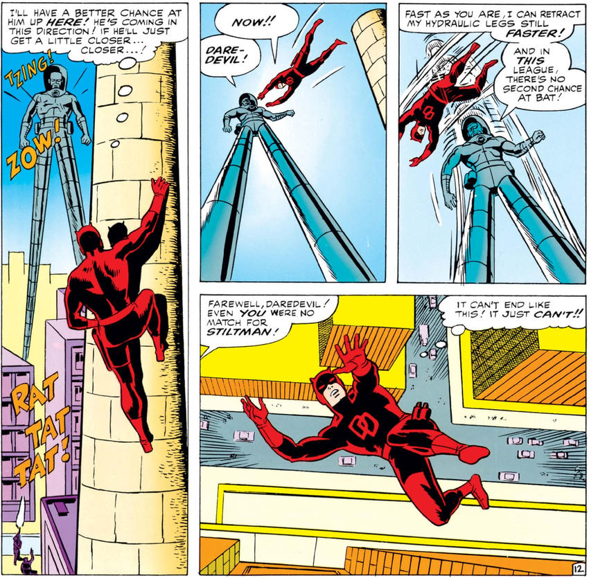 Daredevil very nearly defeated by Stilt-Man
