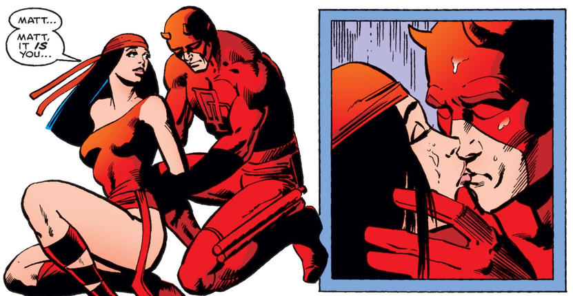 Daredevil and Elektra kiss