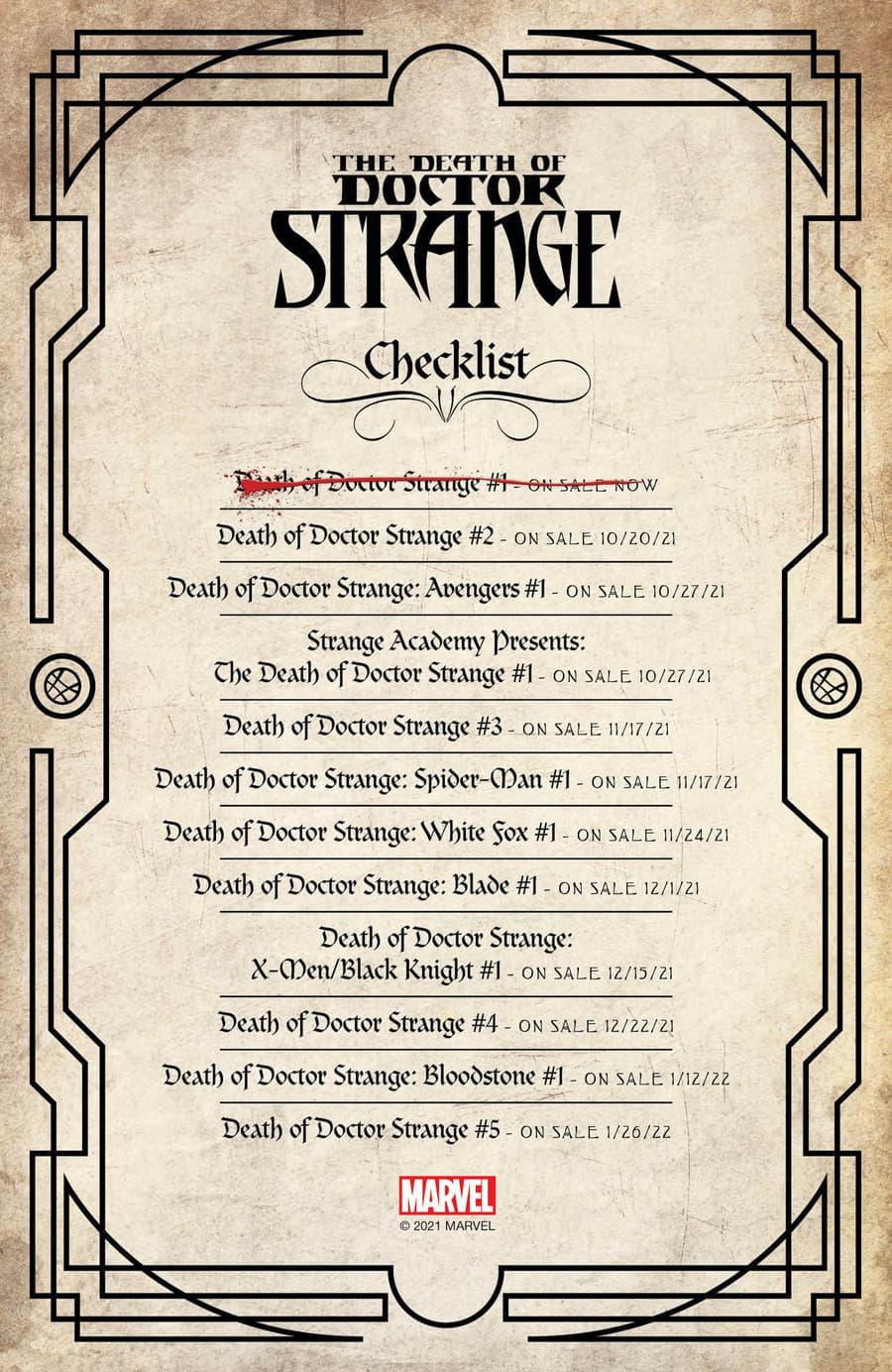 DEATH OF DOCTOR STRANGE checklist