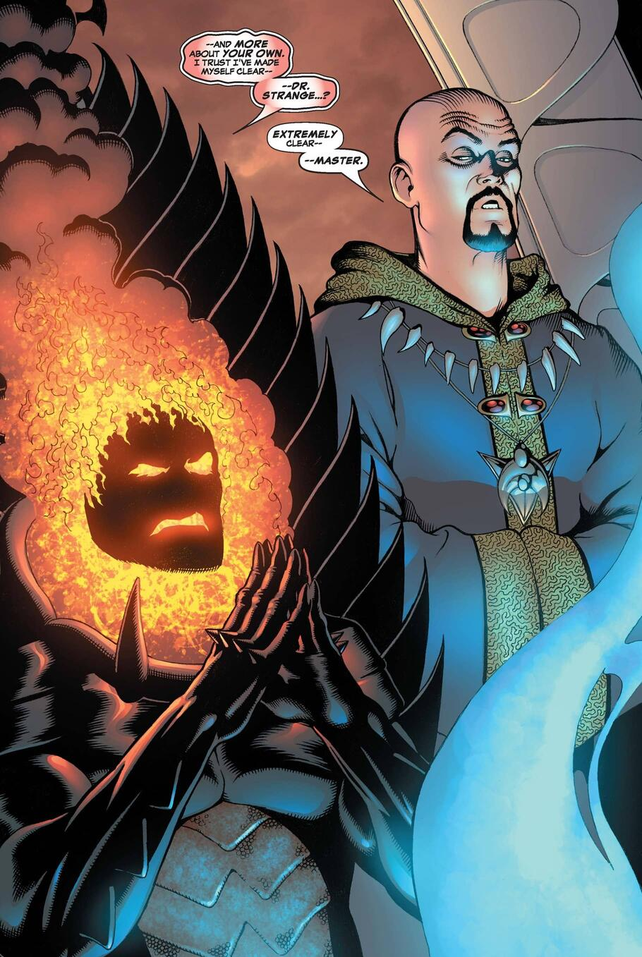 Evil Doctor Strange by Dormammu's side in DEFENDERS (2005) #3.