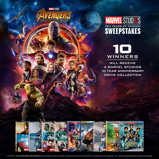 Marvel Studios 10 year sweepstakes info