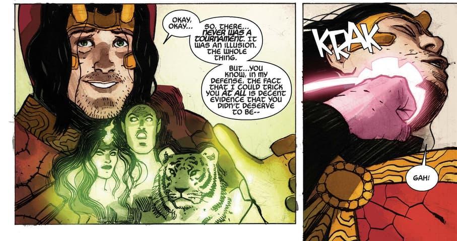 Doctor Strange punches Loki.