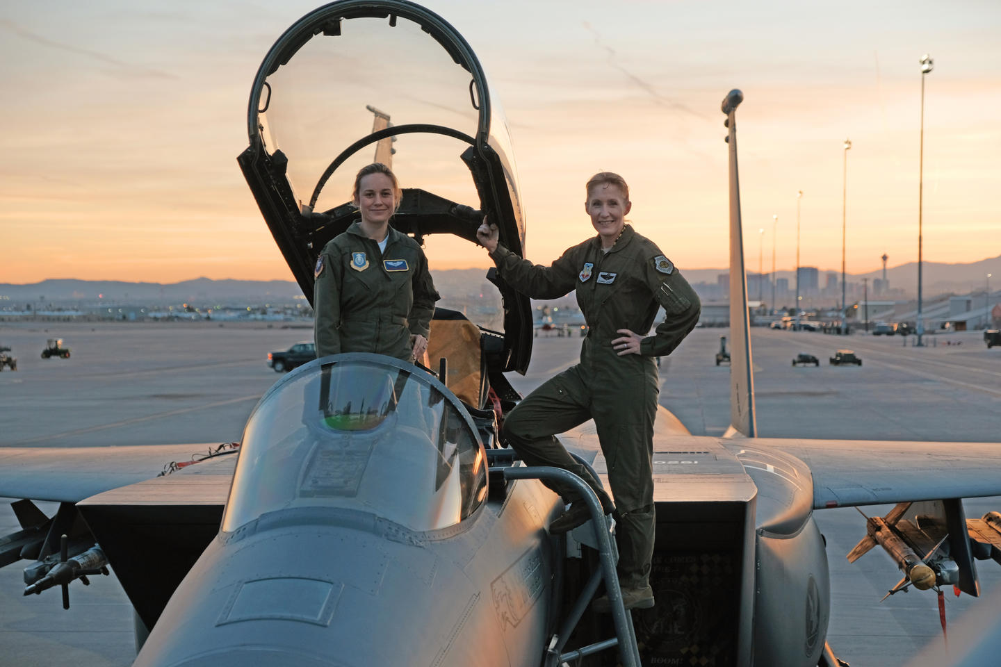 Brie Larson with Brigadier General Jeannie Leavitt, 57th Wing Commander, on a recent trip toNellis Air Force Base