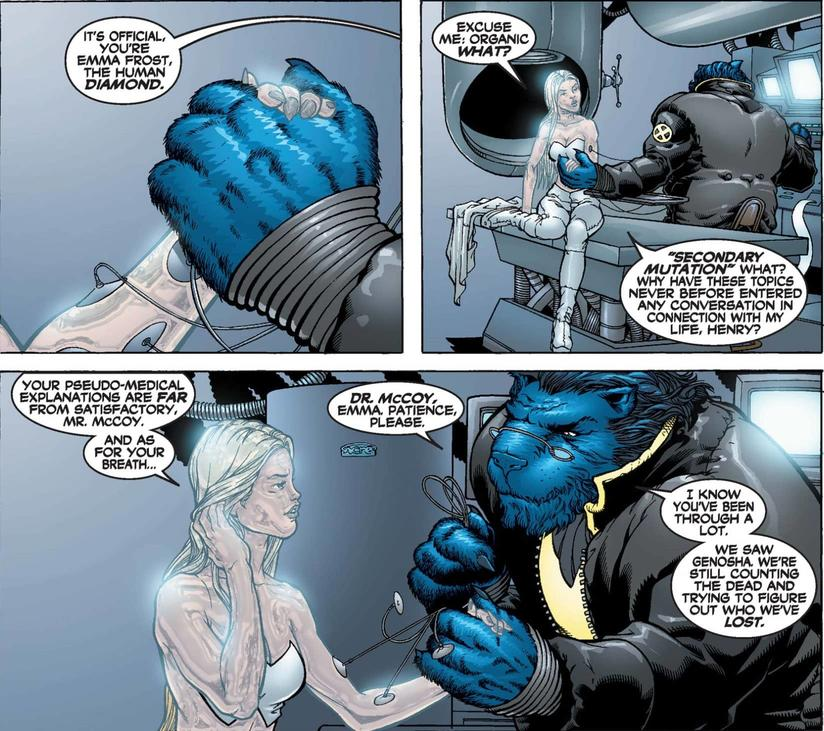 Emma Frost and Beast in New X-Men