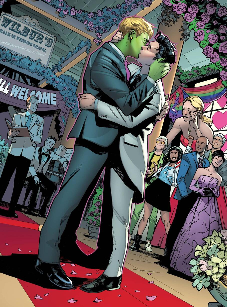 Wiccan and Hulkling take the plunge of matrimony in EMPYRE (2020) #4 surrounded by friends and Young Avengers.