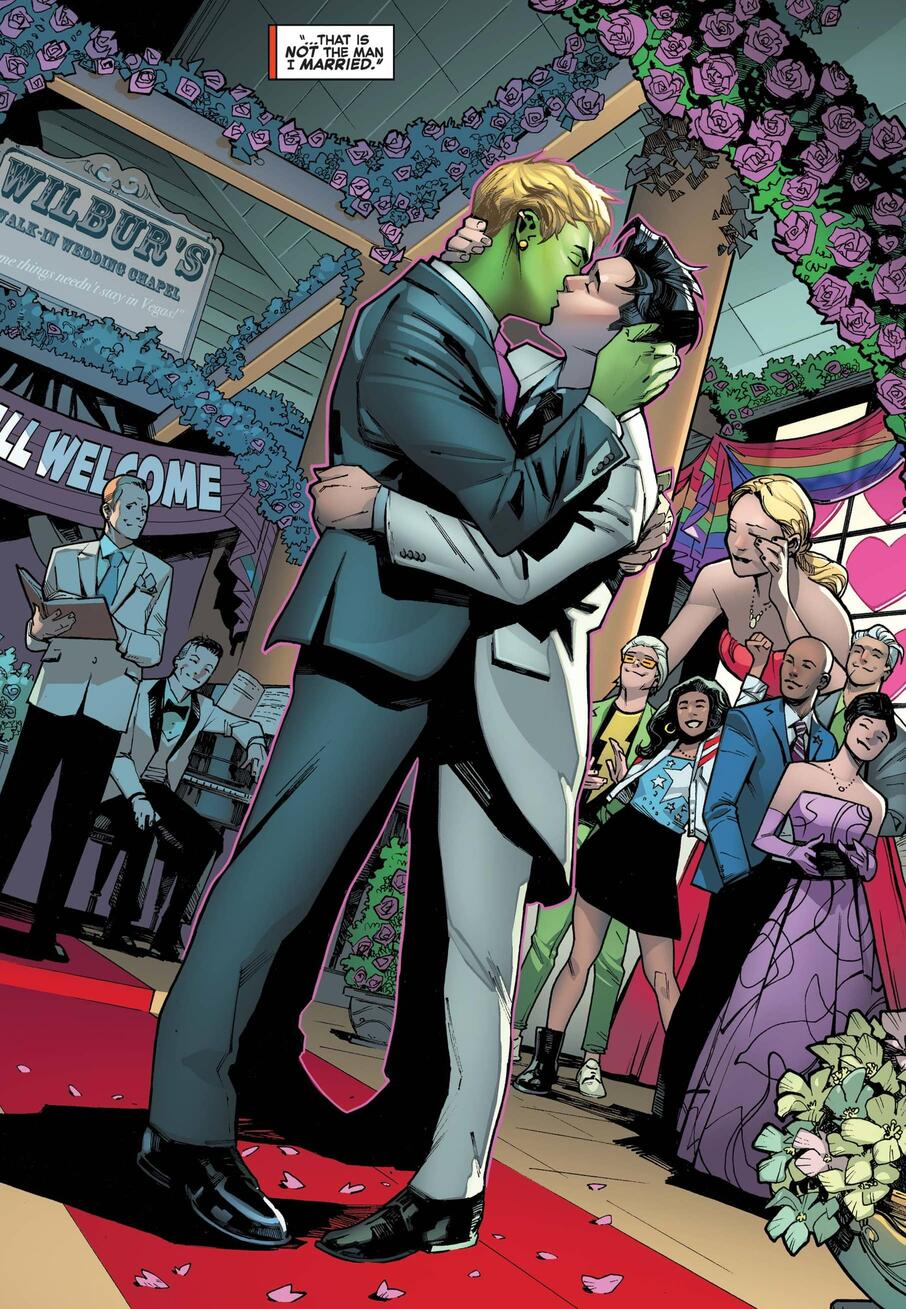 The wedding of Hulkling and Wiccan