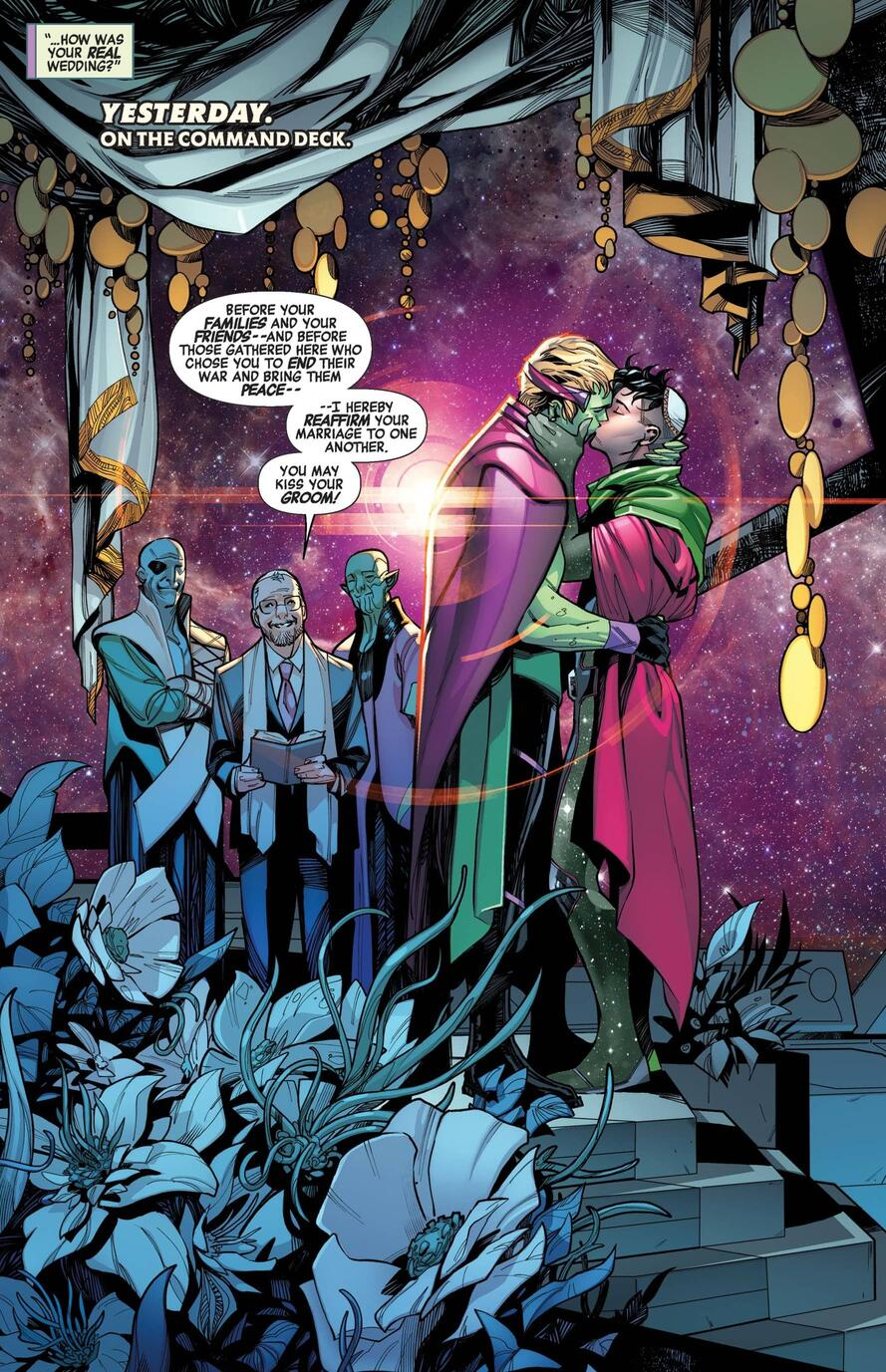 Wiccan marrying into space royalty in EMPYRE: AFTERMATH AVENGERS (2020) #1.