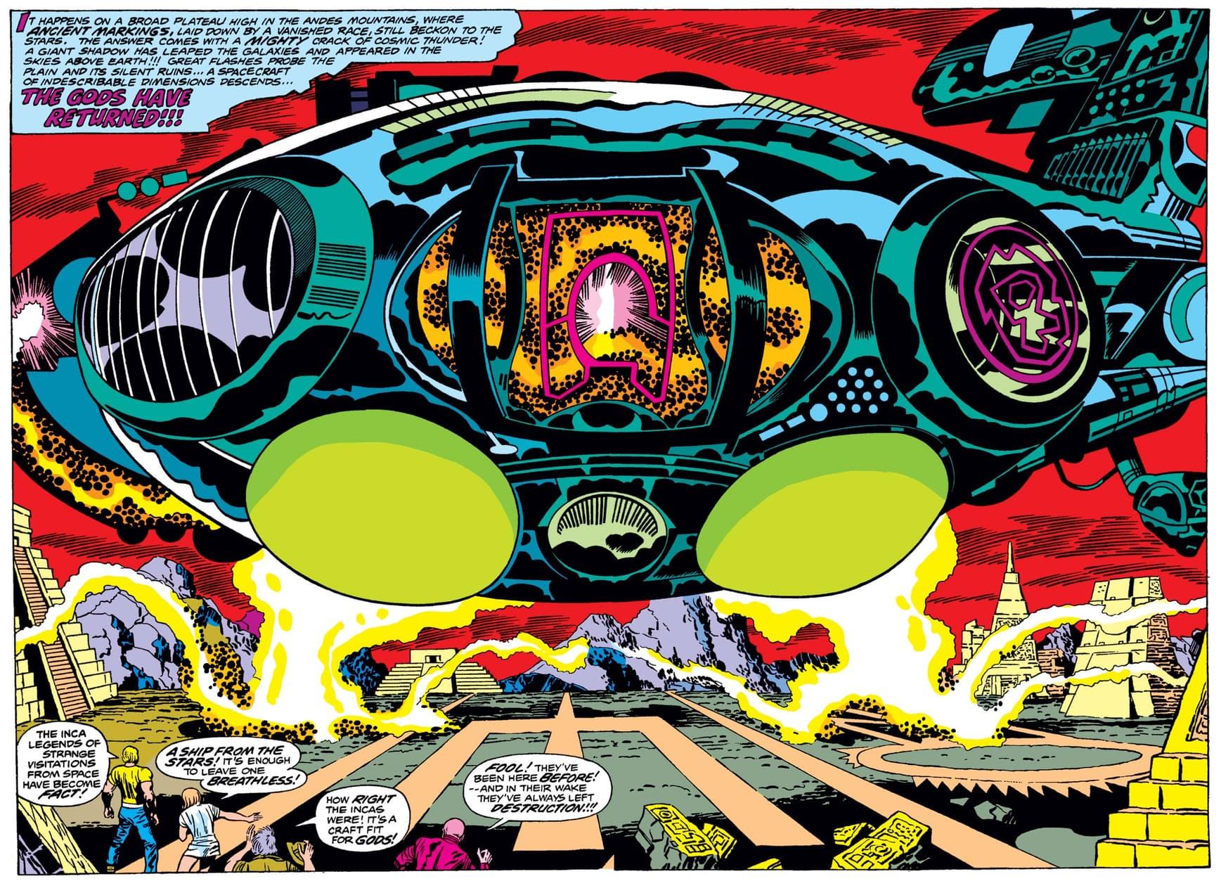 """The """"gods return"""" in ETERNALS (1976) #2."""