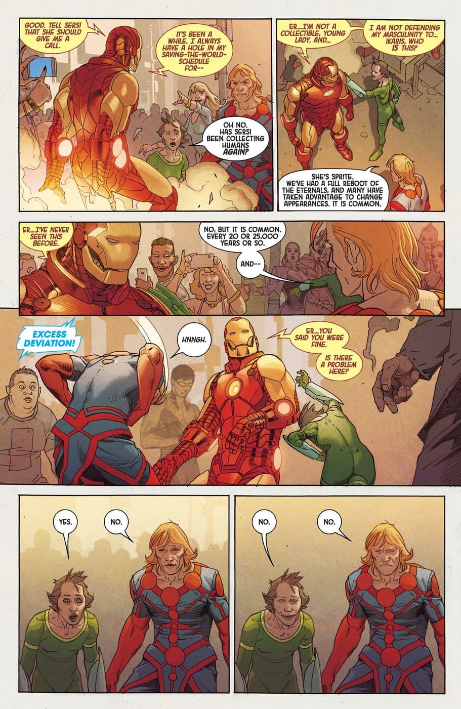 Tony Stark questions the Eternals.
