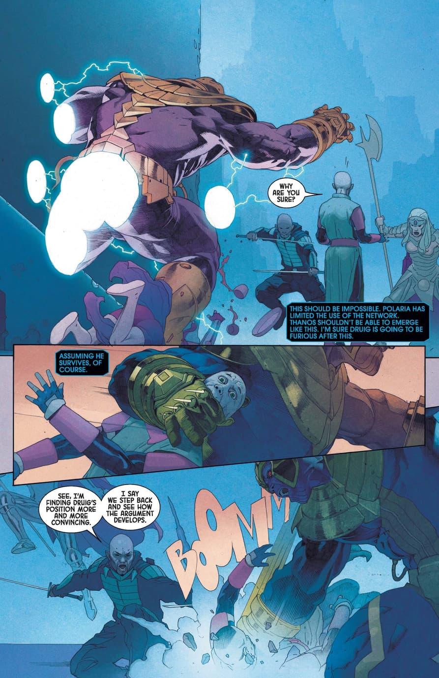 Thanos fights the Eternals in ETERNALS (2021) #4.