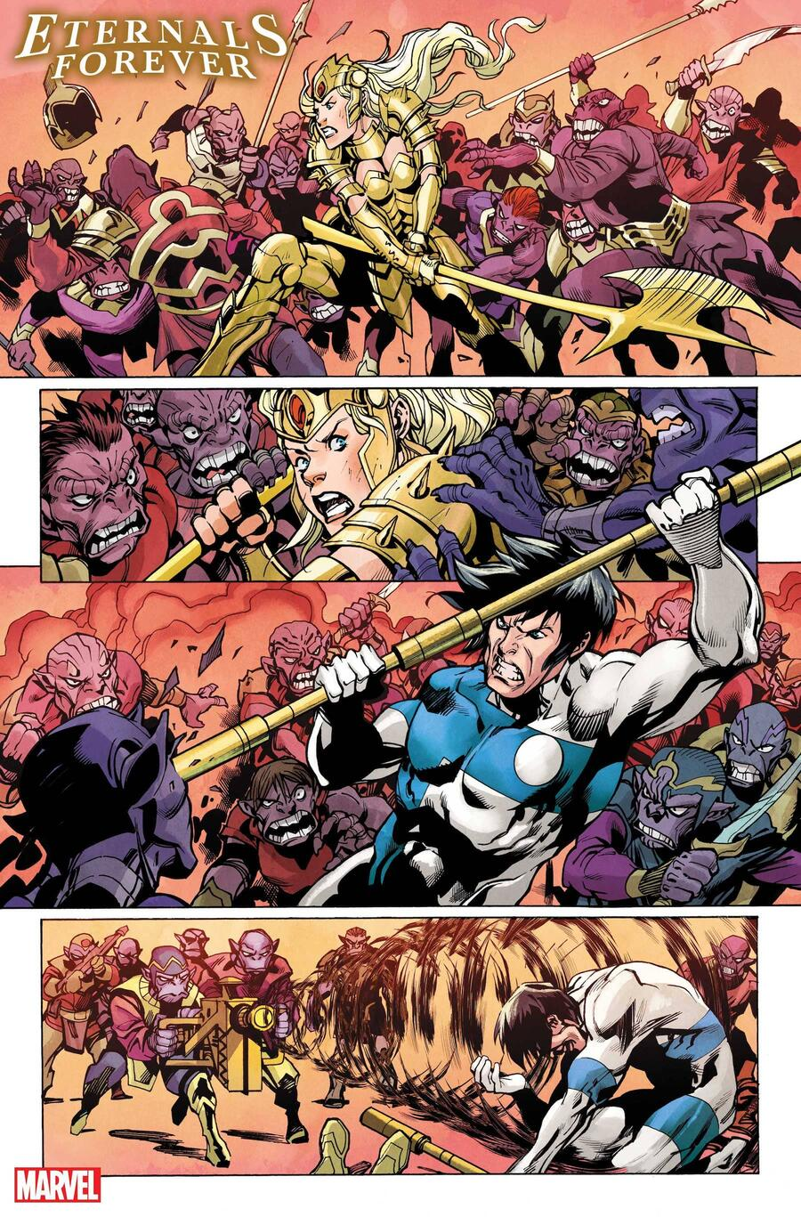 ETERNALS FOREVER #1 preview art by Ramon Bachs with colors by Rachelle Rosenberg