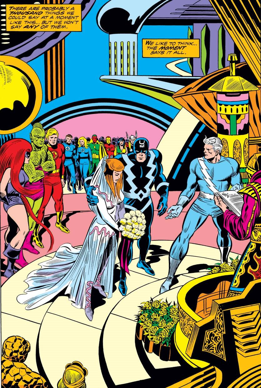 The wedding of Quicksilver and Crystal in FANTASTIC FOUR (1961) #150.