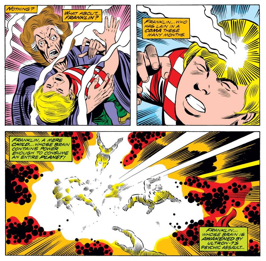 Franklin sends Ultron packing in FANTASTIC FOUR (1961) #150.
