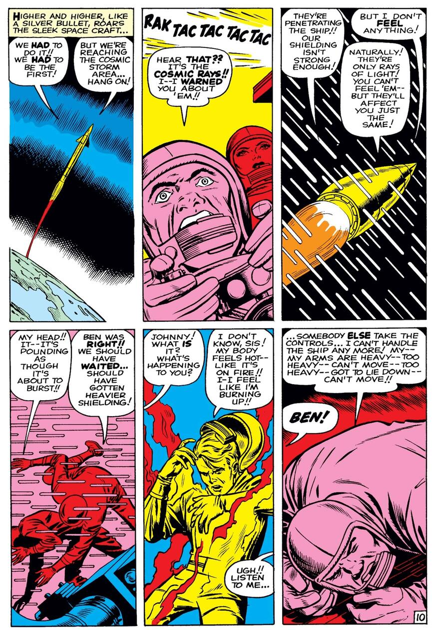 The origin of the Fantastic Four on their fated space mission.