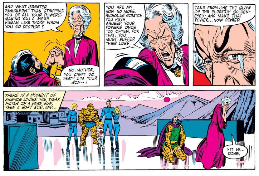 Agatha removes Scratch's power in FANTASTIC FOUR (1961) #223.