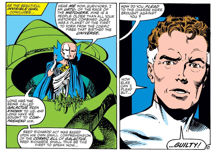 Uatu defends Reed Richards in FANTASTIC FOUR (1961) #262.